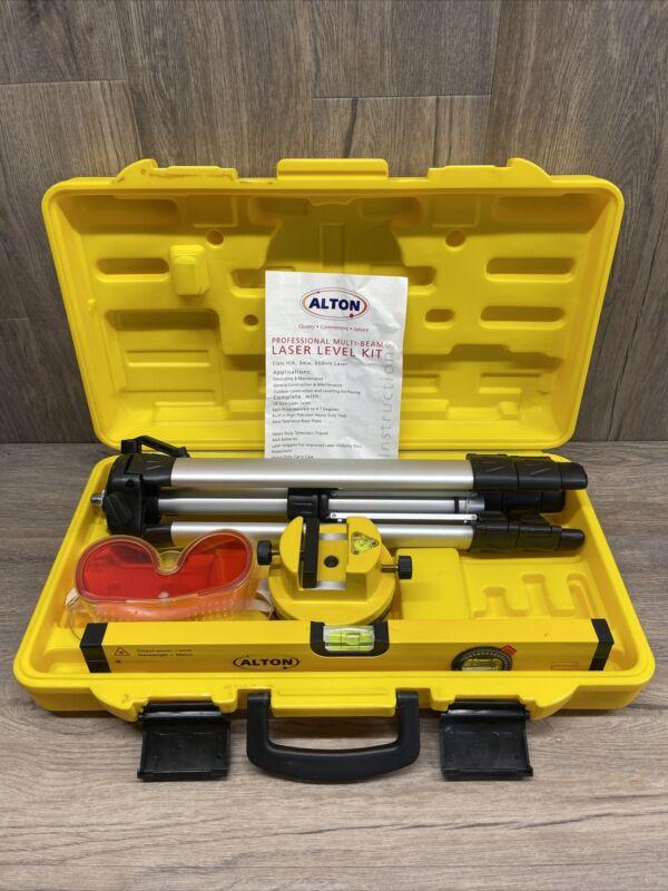 Alton Rotary Multi-Beam Laser Level Tripod Case Construction Kit Set Tools lot