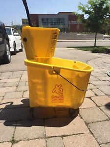3 Yellow Cleaning Buckets with Bottom Drain