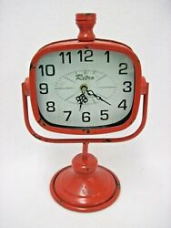RETRO RED RUSTIC METAL TABLE SHELF CLOCK BATTERY OPERATED 12 7/8 TALL
