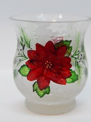 Yankee Candle Poinsettia Crackle Glass Votive Holder NEW!