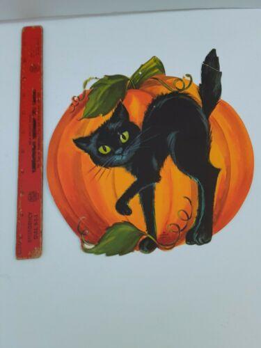 Old Vintage Halloween Cardboard Cardstock Black Cat Pumpkin Decoration Hallmark