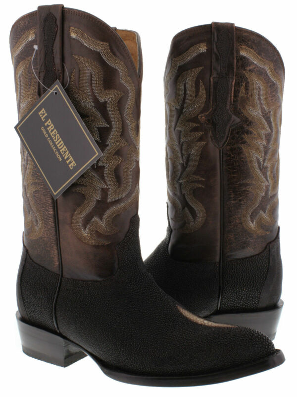 mens, brown, genuine, stingray, skin, exotic, leather, western, cowboy, boots, crocodile