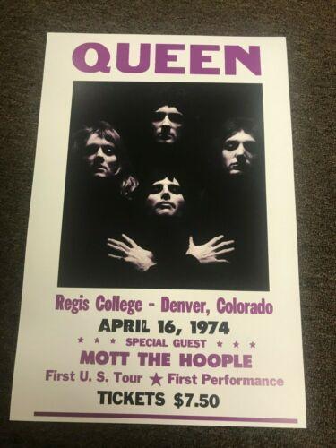 Queen 1974 Denver Colorado Mott the Hoople Cardstock Concert Poster 12x18