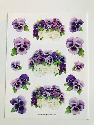 Violet Flower Bouquet Stickers Spring Summer Garden Vtg Hallmark  Stickers Spring Bouquet