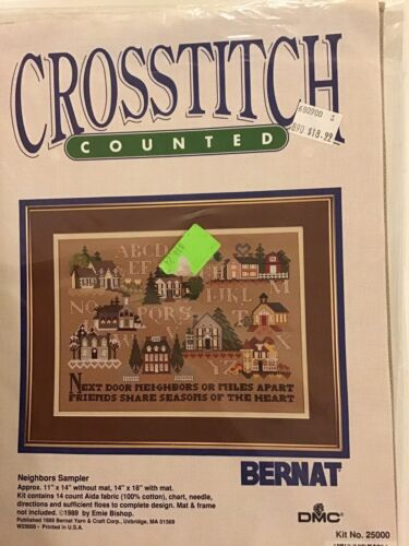 "Bernat ""Neighbors Sampler"" Counted Cross Stitch Kit NEW"