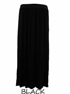 WOMENS LADIES PLUS SIZE 16,18,20 PLAIN LONG STRETCH JERSEY GYPSY MAXI SKIRT-BNWT