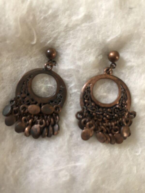 Vintage Bronze Dangle Earrings - Pierced - 0.5 Inches