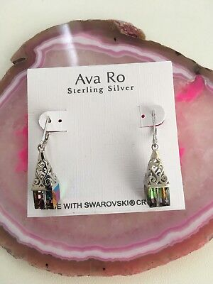 Ava Ro Sterling Silver Earrings With Swarovski Elements Retail $38