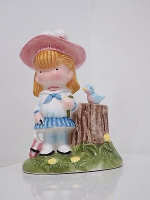 "Vintage Joan Walsh Anglund ""Schoolgirl & Bluebird"" Coin Bank Figurine (1977)"