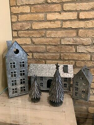 Pottery Barn Galvanized Small Tall House Train Station Large And Small Tree Set
