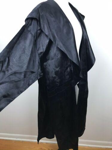 Mangiotti Vintage Formal Evening Dress Coat Black Robe Sz S Satin Loungewear