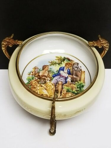Antique Signed French Sevres Porcelain Gilt Bronze Boucher Bowl on Stand