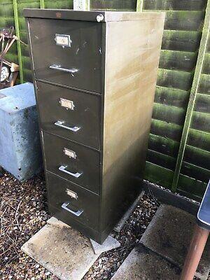 Vintage Industrial Metal Filing Cabinet - 4 Drawer Howden Green