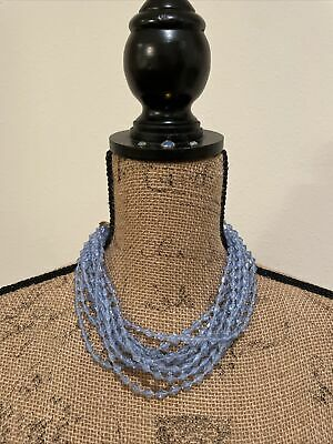 60s -70s Jewelry – Necklaces, Earrings, Rings, Bracelets Vintage 1960's / 1970's Women's Blue Bead 10 Strand Necklace, Used $17.99 AT vintagedancer.com