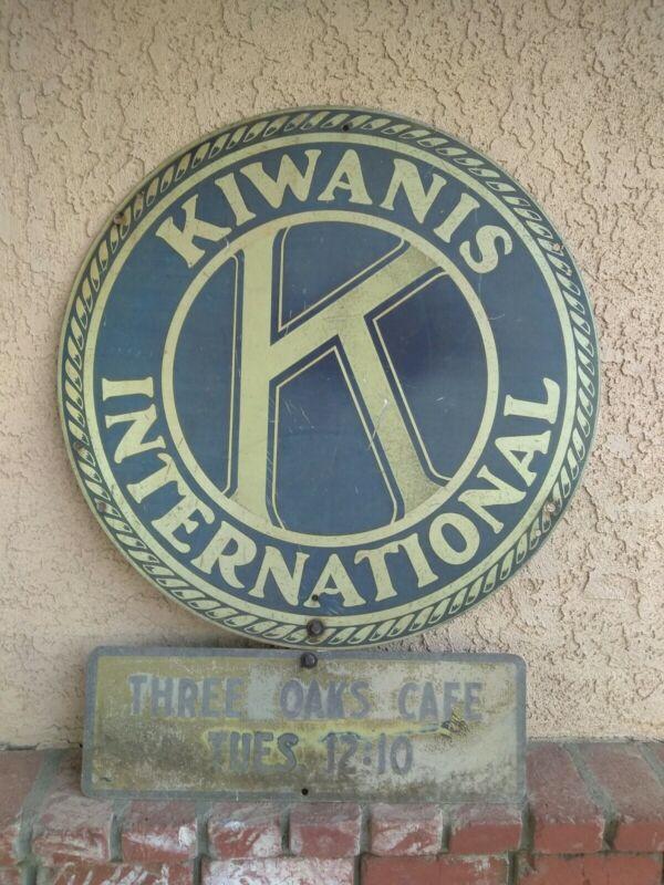 """Vintage Kiwanis International Single Sided 30"""" Metal Sign,Three Oaks Cafe 24 x 8"""