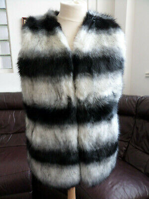 Black and White Fake Fur Gillet/Coat Festival Size 14/16