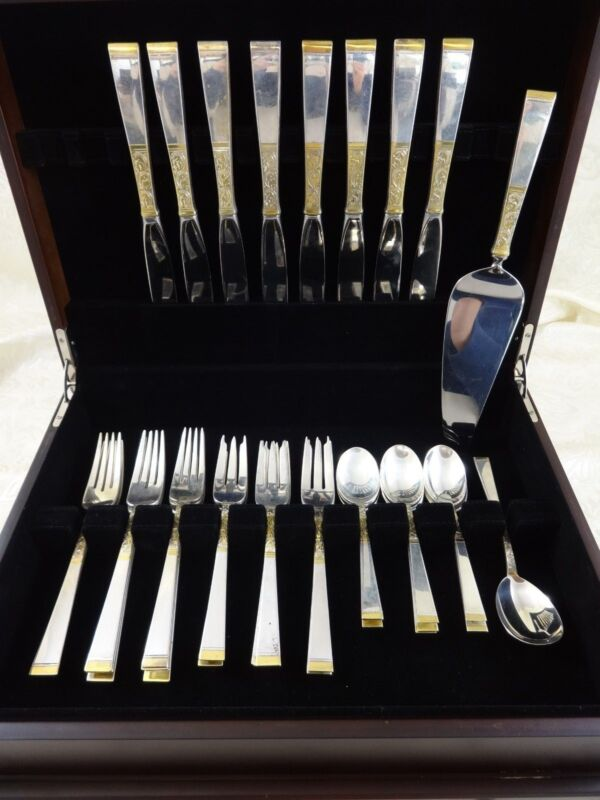 Golden Scroll By Gorham Sterling Silver Flatware Set For 8 Service 34 Pieces