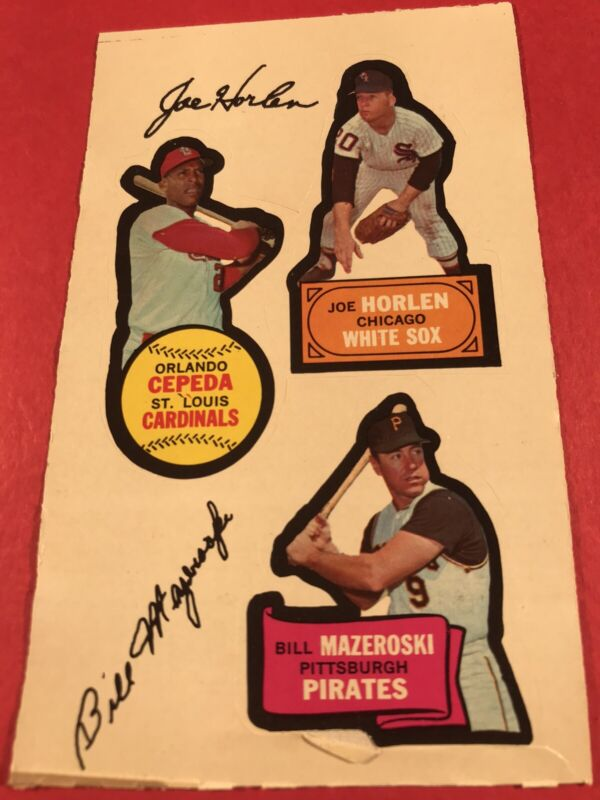 1968 Orlando Cepeda/Bill Mazeroski Topps Action All-Star Sticker Joe Horlen Sox