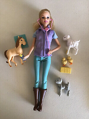 Mattel Barbie Orchard Farm Animal Doctor Partial Set Blonde Horse Lamb Goat