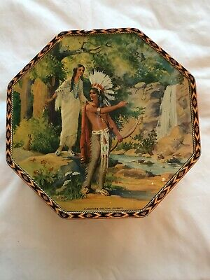Vintage Biscuit Tin with Native American Images