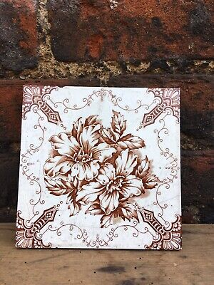 Antique Floral Fireplace Tile Sinuous Cartouche Sepia White Victorian England