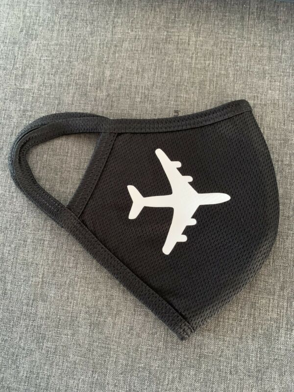 Airplane Airlines Aircraft Crew Face Mask (Black) 3 Layers Face Mask Waterproof