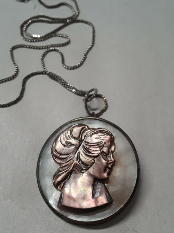 Vintage Antique 800 Silver MOP Abalone Carved Necklace Pendant Pin Brooch