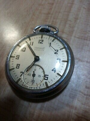 Antique Ingersoll Radiolite Pocket Watch Made In The USA Working Mechanical