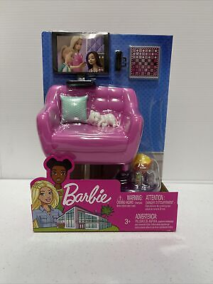 Barbie Indoor Furniture Set LIVING ROOM + KITTEN Accessories Pack Couch Table TV
