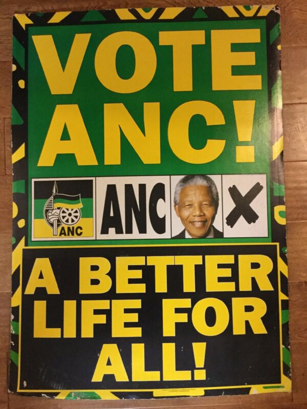 Nelson Mandela Original Authentic ANC VOTE Poster 2001 HISTORICAL SIGNIFICANCE