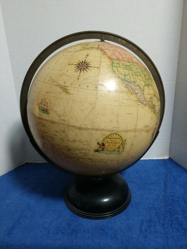 "1936 1937 Rand McNally Terrestrial Art Globe 12"" - Prewar - Art Deco - Mermaid"