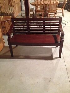 Brown pine bench