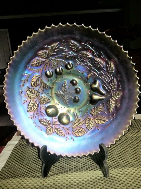 Antique Northwood Amethyst Three Fruits Carnival Glass Bowl/Basket Weave
