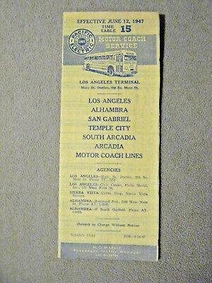 Pacific Electric Pocket Time Table #15 - Arcadia - 6/12/47