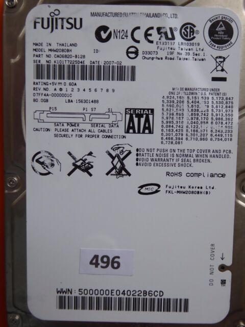 80GB Fujitsu MHW2080BH | PN: CA06820-B128 | 2007-02  #496