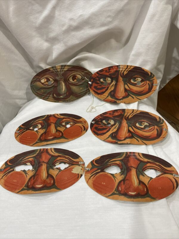 Set Of Six Vintage Paper Halloween Masquerade Masks Made In Japan