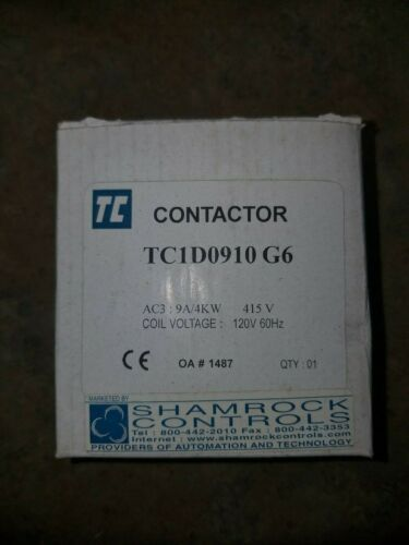 New In Box, Shamrock Controls TC1D0910G6 Contactor
