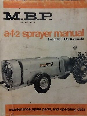 M B P A-f-2 Farm Field Orchard Sprayer Owner Repair Parts Manual Agriculture