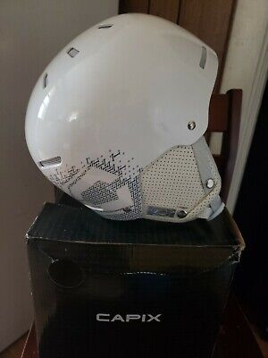"High End $120 Adult Mens Mens Capix /""Logo/"" White Team Snowboard Ski Helmet L//XL"