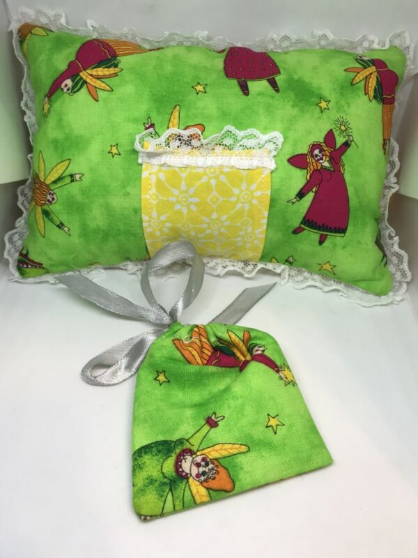 """Tooth Fairy Pillow Green 8"""" X 5"""" With Matching Pouch"""