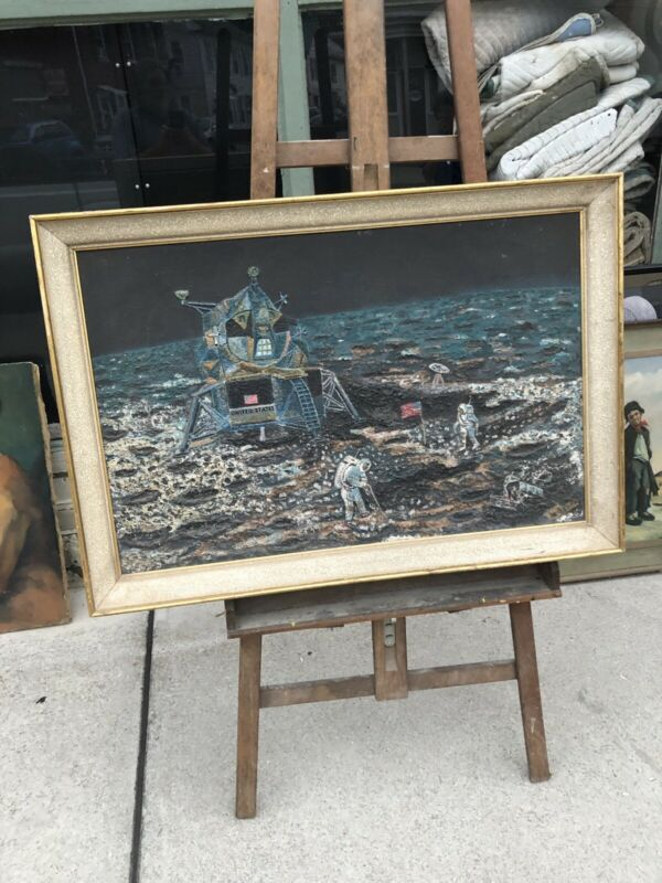 1969 PRESENTED TO ASTRONAUT NEIL ARMSTRONG ARTIST SIGNED MARCEL BARON PAINTING