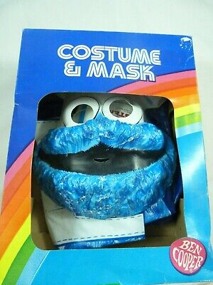 Vintage 1982 Ben Cooper COOKIE MONSTER Tiny Tot Halloween Costume Mask in Box