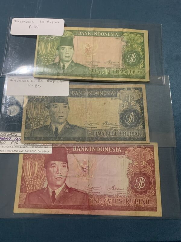 Indonesia - Old 100 50 25  Rupiah Note - 1960 - P86a - F/VF