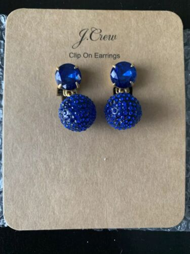 J.Crew Pave Resin Clip-on Earrings - Blue - Retail 34.50 - New - $26.20