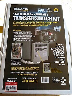 Honda Q310chk 10 Circuit 30 Amp Generator Transfer Switch Kit W25 Cord