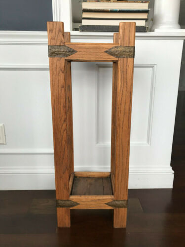Rare Antique Arts And Crafts Wood And Brass Umbrella Stand