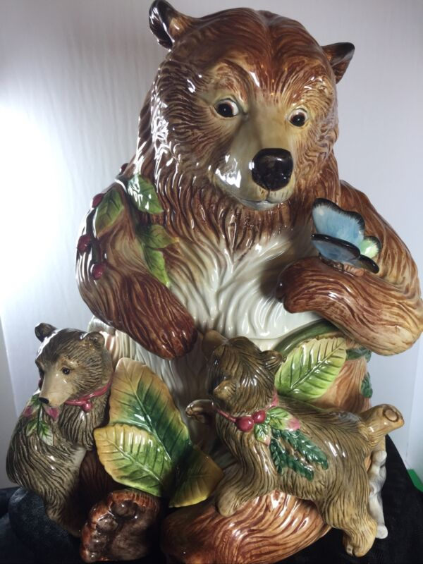 Fitz & Floyd Classics 2002 High Sierra Handcrafted Momma Bear & Cubs Cookie Jar