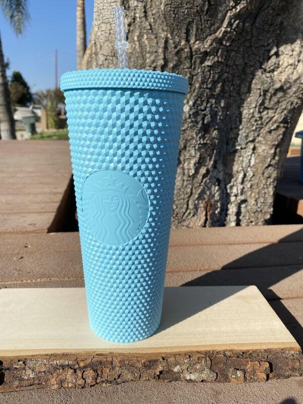 Custom Painted ! Aqua Blue Starbucks Studded Tumbler
