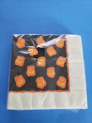 Vintage Halloween Napkins (16) Jack O' Lantern Pumpkins NIP NOS Hallmark Dinner