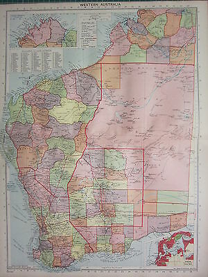 1940 MAP ~ WESTERN AUSTRALIA ~ LAND DIVISION STEAMER ROUTES PERTH CITY PLAN